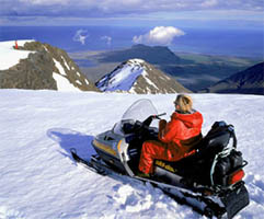 Skidoo on glacier