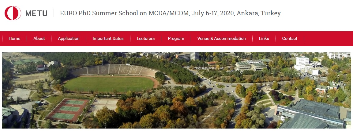 EURO PhD Summer School on MCDA/MCDM, July 6-17, 2020, Ankara, Turkey